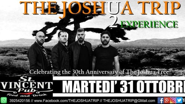 "Halloween al St. Vincent di Vacri con ""The Joshua Trip"" (tribute U2)"