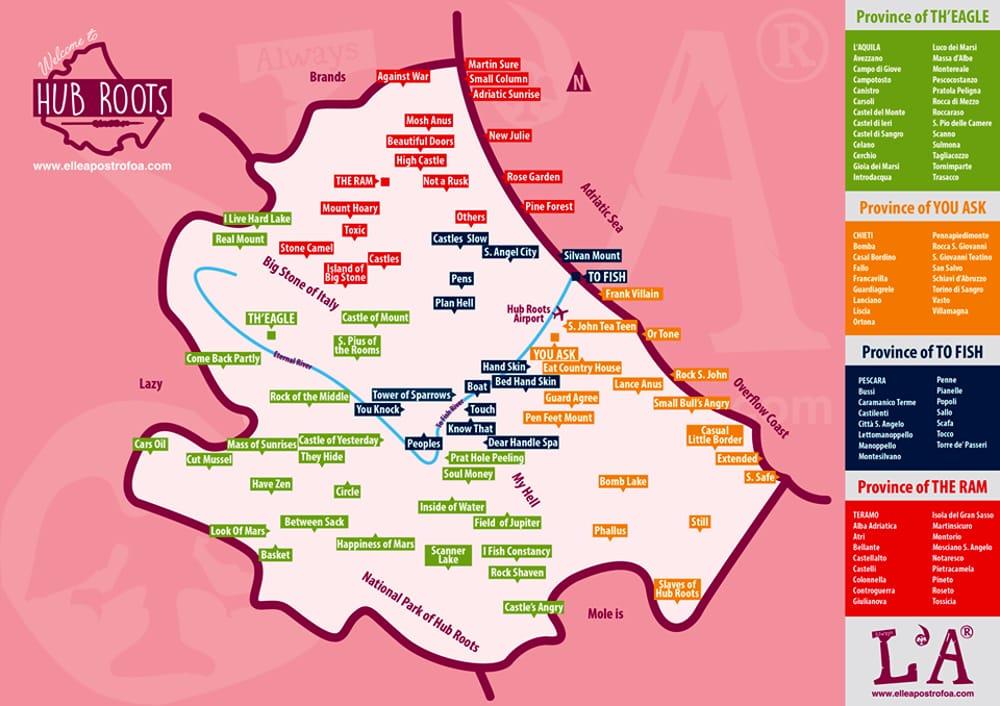 Cartina Della Regione Abruzzo.Chieti Diventa You Ask La Mappa D Abruzzo In Inglese E Tutta Da Ridere